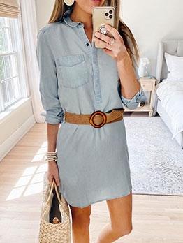 Turn-Down Collar Solid Long Sleeve Dress