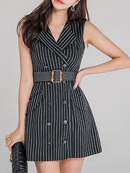 OL Style Striped Sleeveless Blazer Dress