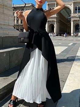 Pleated Hem Backless Contrast Color 2 Piece Dress