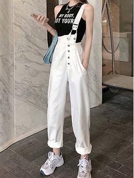 One Shoulder White Denim Overalls Pants