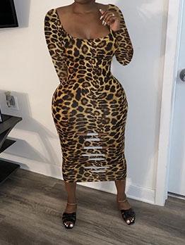 U Neck Long Sleeve Leopard Print Midi Dress