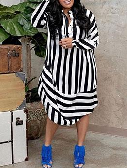 Casual Striped Women Long Sleeve Midi Dress