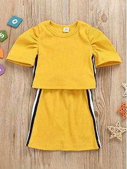 Casual Pit Stripe Sport Girl Skirt Set