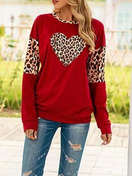Heart Leopard Printed Long Sleeve Sweatshirt