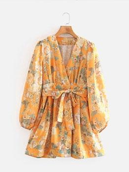 Retro Printed Puff Long Sleeve Dress