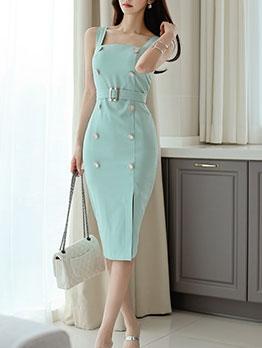 Elegant Slit Sleeveless Knee Length Dress