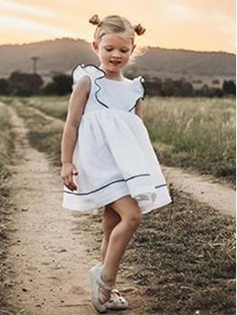 White Color Sleeveless Sweet Princess Dresses