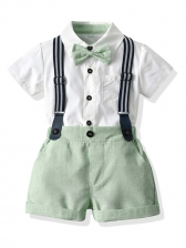 White Short Sleeve Shirt With Suspenders Shorts For Little Boy