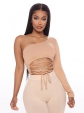 One Shoulder Lace Up Women Bodysuit