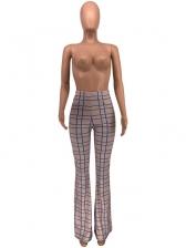 Full Length Plaid High Waist Flare Pants