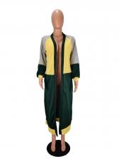 Autumn Contrast Color Long Cardigan For Women