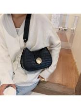 Stone Grain Solid Color Wide Belt Shoulder Bags