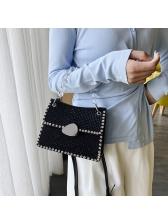 Clear Beads Handle Rhinestone Shoulder Bags