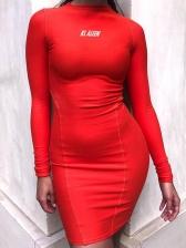 Reflective Letter Long Sleeve Bodycon Dress
