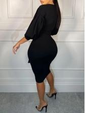 V Neck Tie Wrap Black Long Sleeve Dress