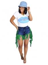 Fashion Contrast Color Tassel Denim Shorts