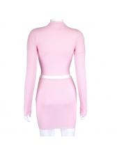 Double Zipper Long Sleeve Two Piece Skirt Set