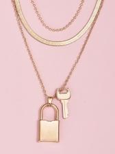 Fashion Lock Shape Pendant Women Layered Necklace