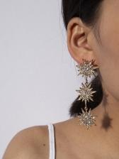 Temperament Rhinestone Geometric Long Earrings For Women