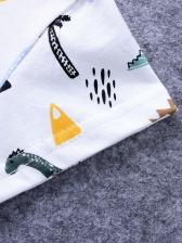 Cartoon Dinosaur Printed Short Sleeve Rompers