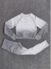 Gradient Color Fitness Two Pieces Pants Set