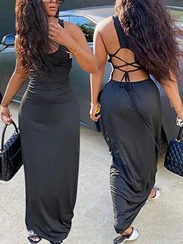 Deep U Neck Backless Sleeveless Maxi Dress
