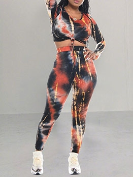 Tie Dye High Waist Two Piece Pants Set