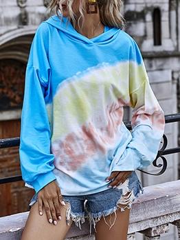 Gradient Color Long Sleeve Ladies Hoodies