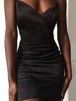Fashion V Neck Solid Skinny Strapless Dress