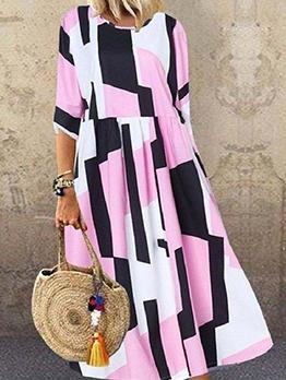 Contrast Color Plaid Summer Maxi Dresses For Women