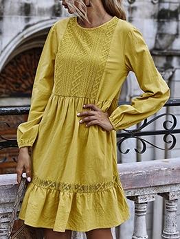 Loose Ruffled Hem Solid Long Sleeve Dress