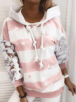 Hot Sale Lace Sleeve Stripe Star Pattern Hoodie