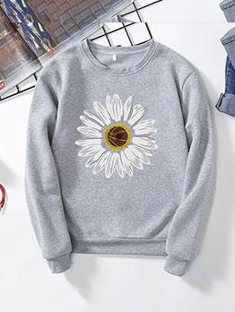 Little Freshness Chrysanthemum Print Women Sweatshirt