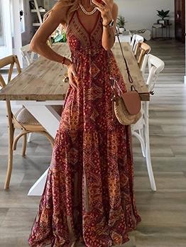 Bohemian Printed v Neck Maxi Dresses For Women