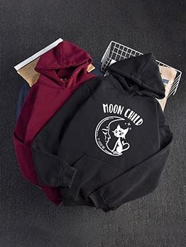 Letter Print Long Sleeve Pullover Hoodie