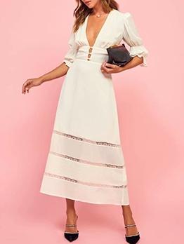 Lace Patchwork Deep v Maxi Dress