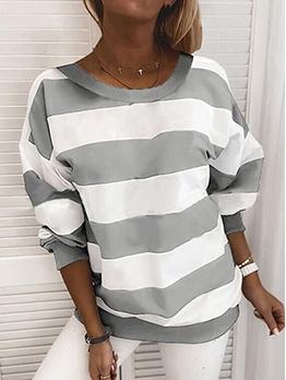 Crew Neck Contrast Color Stripe Long Sleeve Sweatshirt
