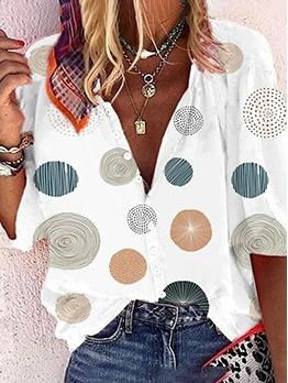 Hot Sale V Neck Dots Printed Button Blouse