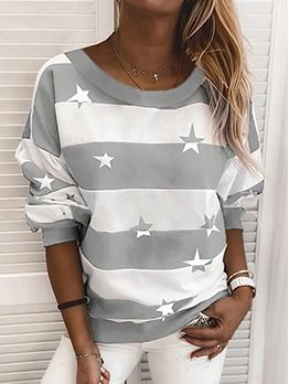Fashion Crew Neck Long Sleeve Stripe Star Sweatshirt