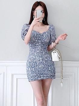 Elegant Printed Draped Short Sleeve Summer Dresses