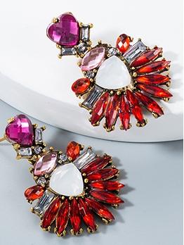 National Style Acrylic Rhinestone Heart Women Earrings
