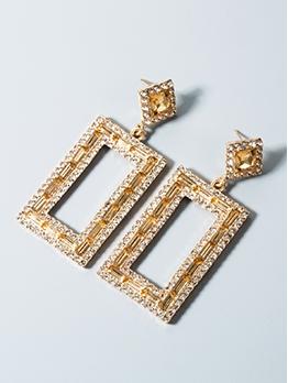 Fashion Rhinestone Rectangle Temperament Earrings For Women