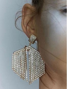 Exaggerated Rhinestone Tassel Long Earrings For Women