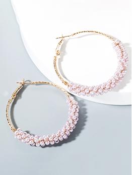 Simple Design Faux Pearl Hoop Earrings For Women