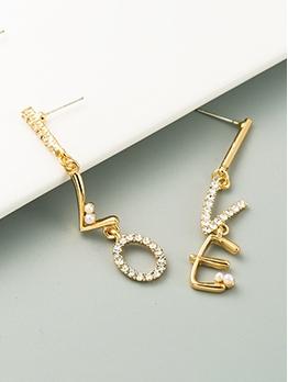 Fresh Rhinestone Letter Easy-Match Women Long Earrings