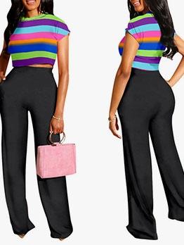 Multicolored Stripes Wide Leg 2 Piece Pants Set