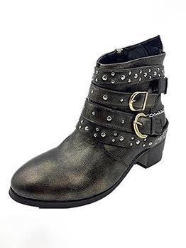 Euro Rivets Chunky Heel Ladies Boots