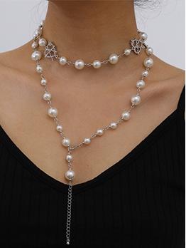 Fashion Rhinestone Heart Faux Pearl Layered Necklace