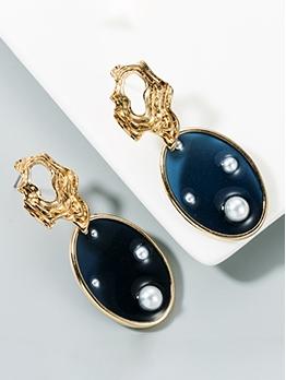 Fashion Oval Shape Faux Pearl Earrings For Street