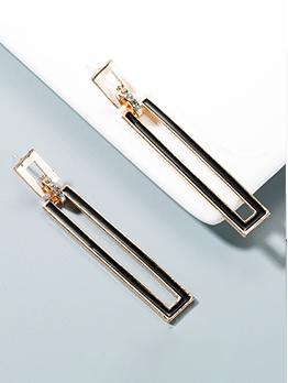 Fashion Rhinestone Rectangle Long Earrings For Women